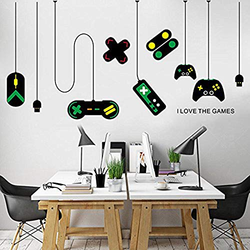 CHengQiSM Game Wall Stickers Gaming Controller Joystick Playroom Wall Decals for Bedroom Living Room Decor Removable Art Mural for Boys Kids Men