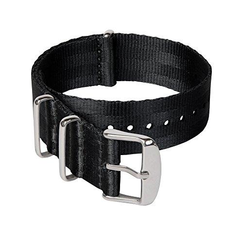 Archer Watch Straps | Correas NATO de Nylon Cinturón de Seguridad | Correa de Reloj Diseño Militar | Negro/Piezas Metálicas Color Acero, 22mm