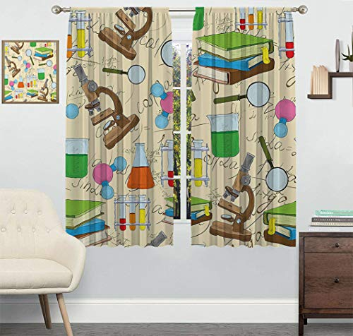 Yahonwa Kids Room Decor Customized Curtain, Science Education Lab Sketch Books Equation Loupe Microscope Molecule Flask Window Drapes 2 Panels Set, Each Panel 27.5' Wx40 L Multicolor