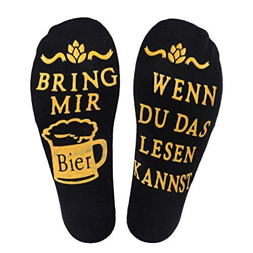 Litthing Bier Socken Lustige Socken aus Baumwolle, Wenn Du Das Lesen Kannst Bring Mir Bier, Geeignet füt Männer & Frauen Tolles Geschenk zur Party oder zum Fest