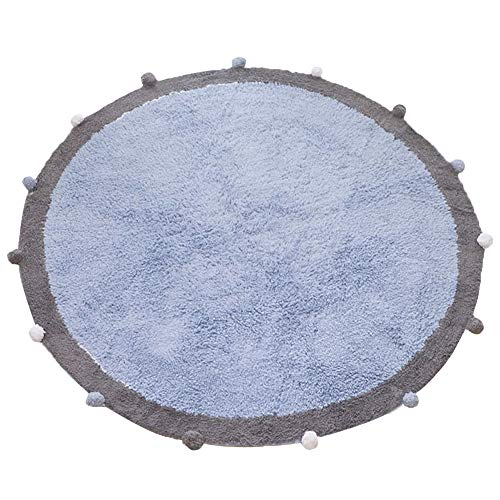 100% Cotton Kids Round Ball Rug 4ft for Boys and Girls Mojesse,Very Soft Kids Crawling Carpet Play Mat,Suitable for Children's Rooms Decor, Nursery Door Mat Photography Props