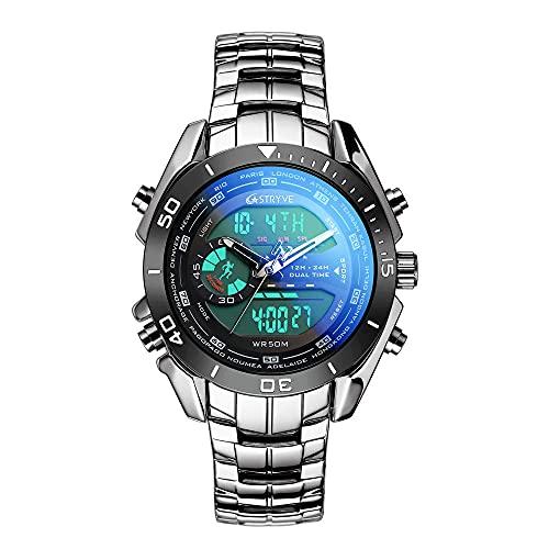 SANDA Relojes para Niña,Moda de Hombre de Acero Inoxidable con Relojes Doble Pantalla Impermeable Forma electrónica Reloj de Cuarzo Hombre-Negro Plata