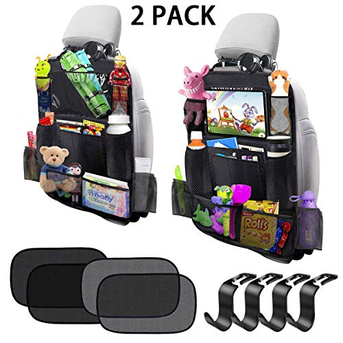 Zooawa Car Back Seat Organizer Car Seat Travel Bag with Tablet Pouch Beige Backseat Protector Storage Pockets for Kids Toddlers