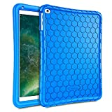 Fintie Silikon Hülle für iPad 9.7 Zoll 2018 2017 / iPad Air 2 / iPad Air - [Bienenstock Serie] Leichte rutschfeste Stoßfeste Schutzhülle Tasche Hülle Cover, Blau