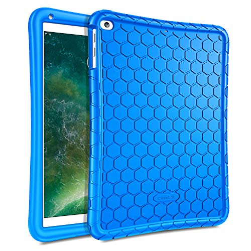 Fintie Case for iPad 9.7 2018 2017 / iPad Air 2 / iPad Air - [Honey Comb Series] Light Weight Anti Slip Kids Friendly Shock Proof Silicone Protective Cover for iPad 6th / 5th Gen, Blue