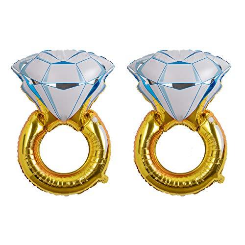 Hivexagon Anillo de Diamante Gigante, Globos de Aluminio para Despedida de Soltera, Fiesta de Compromiso, Despedida de Soltero, Decoraciones de Boda 2pcs / Set (Color Oro) HP042