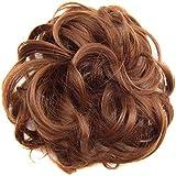 JXQ-N 30 Farben Damen Mode Haargummi Haarteil Synthetik Haare für Haarknoten Mittelbraun gewellt Haarband Hochsteckfrisuren Gummiband Haarverdichtung (D 4)