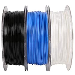top rated 1.75 mm PLA filament bundle, 3 spools (white / black / blue), almost compatible with 3D printers, … 2021