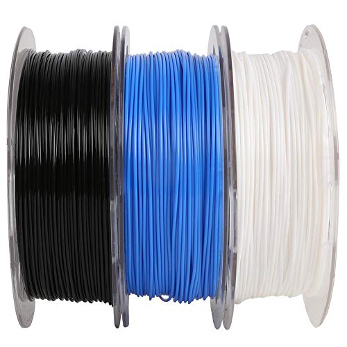 MIKA3D 1.75mm PLA Filament Bundle, 3 Spools Pack (White/Black/Blue), Widely Compatible for 3D Printers, 0.5kg 1.1 lbs/Spool, Total 1.5kgs 3D Printing Material, with One 3D Print Stick Tool