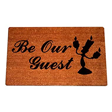"Disney Beauty and the Beast Lumiere Be Our Guest Welcome Laser Engraved Coir Fiber Doormat 30"" x 18"""