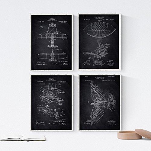 ZWART - Pak van 4 vellen met PATENT-vliegtuigen. Maak posters met uitvindingen en oude patenten. Kies de gewenste kleur. Gedrukt op hoge kwaliteit 250 gram. Nacnic