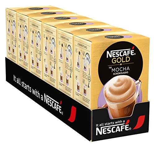 NESCAFÉ GOLD Typ Mocha, löslicher Bohnenkaffee mit cremiger Milch & sanfter Kakaonote, schokoladiger Kaffeegenuss, 6er Pack (à 8 x 18g Sticks)