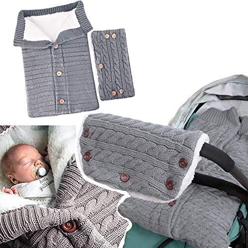 strety Baby Schlafsack für Kinderwagen Winter Gestrickt Schlafsack Süße Samt Warme Tasche Pucksack Stricken Wickeln Abnehmbare Ärmel Strick Decke Schlafsack Swaddle für Babys Neugeboren 0-18 Monat