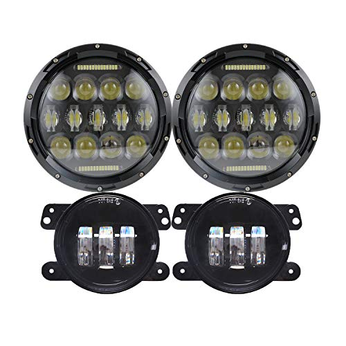 7'' Black 75w LED Driving Headlights with DRL+ 4 Inch LED Front Fog Lights for Jeep 97-2017 JK...