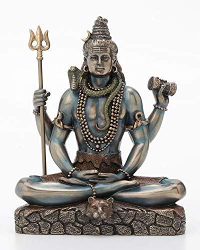 Veronese Design Shiva in Padmasana Lotus posa scultura – Dio indù e Destroyer of Evil Figura