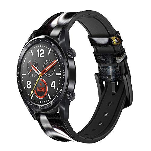 Innovedesire Smile Bullet Gun Smart Watch Armband aus Leder für Wristwatch Smartwatch Smart Watch Größe (24mm)