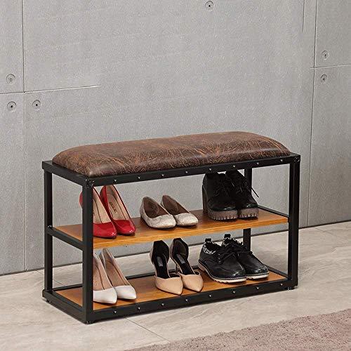 FMOGE Zapatos De Hierro Forjado De Loft Americano, Banco De Puerta, Estante De Zapatos De Varias Capas, Banco Largo, Tienda De Ropa Nórdica, Zapatos De Prueba, Silla