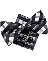 "Retreez Tartan Check Patterns Woven Microfiber Pre-tied Bow Tie (Width: 5"") with matching Pocket Square and Cufflinks, Gift Box Set as a Birthday Gift - Black and Grey"
