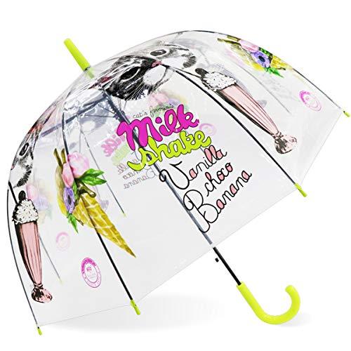 Romantischer Kirschblüten Regenschirm - Transparent Schirm - Durchsichtiger Regenschirm Kuppelförmigen - Windfester Regenschirm Für Erwachsene und Kinder (Gelb#1)