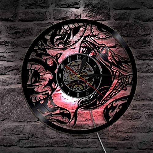 ROMK Reloj de Vinilo The Snake Serpent Animal Home Wall Art Reloj de Pared Moderno Venom Reptile Reloj de Pared con Registro de Vinilo Reloj de Pared de guardería Diseño Moderno