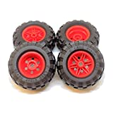 LEGO Parts and Pieces: Large Red Wheel, Black Tire Pack - 8 Pieces
