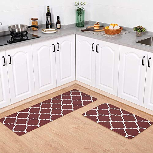 Carvapet 2 Piezas Impermeable Alfombras Cocina Antideslizante Alfombrillas Cocina PVC Wipe Clean Alfombra de Baño Felpudo Corredor (Marruecos Borgoña)