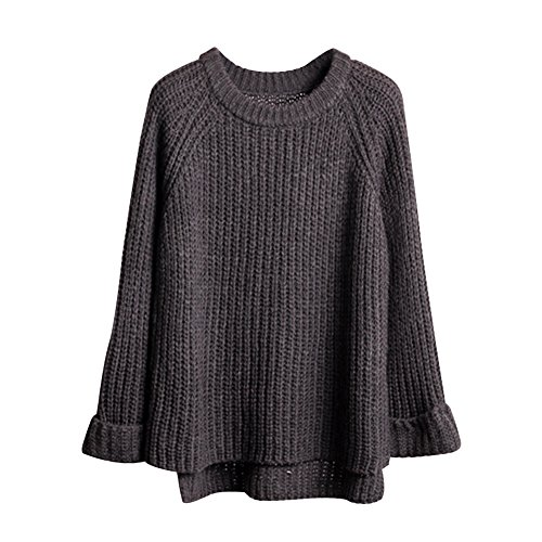 Eleery Souple Sweater Pull Tricot Chaud Femme Pull-over Manches Longues Casual Basique Uni