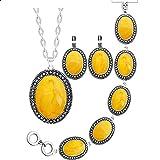 CLEARNICE Conjunto de Joyas de Cera de Abeja simulada Ovalada, Collar Chapado en Plata Antigua, Pendientes, Pulsera, joyería de Moda, Longitud 70 cm