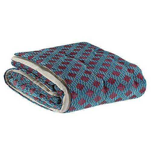 Vivaraise – Chemin de lit Rosetta – 90x240 cm – Couvre lit réversible 100% Coton – Linge quilté Main – Velours imprimé et Revers Chambray - Rouge et Bleu Agathe