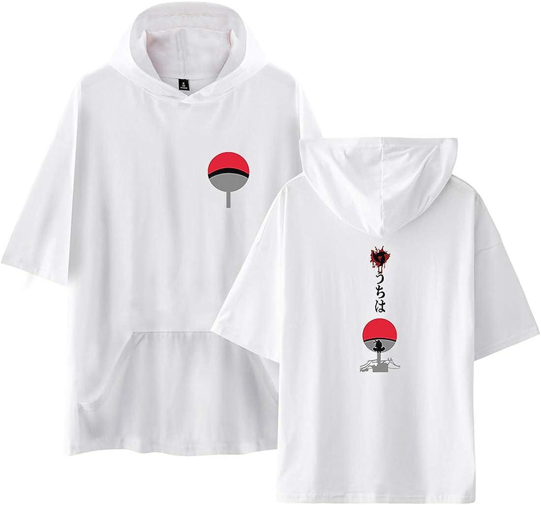 NCTCITY Unisexo Hombres Mujeres Camiseta con Capucha Manga Corta T Shirts Anime Impresión de Cartas Hoodie Hip Hop tee Tops Camisa Uchiha Sharingan Ninjia