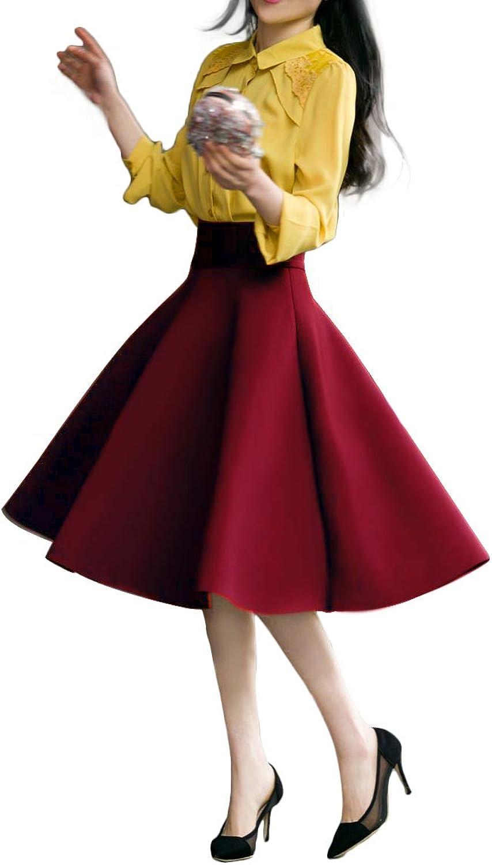 JOAUR Women High Waist ALine Skirt Pleated Knee Length Midi Skirt with Pockets
