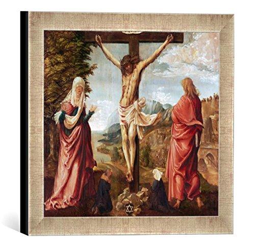Kunst für Alle '–Fotografía enmarcada de Albrecht Altdorfer de Cristo en la Cruz con María y Juan, de impresión handgefertigten imágenes de Marco, 30x 30cm, Plata Raya