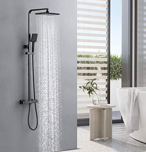 KAIBOR Schwarz Duschsystem mit Thermostat, Duschset mit Schöne Kopfbrause 26x19cm, Handbrause, Höhenverstellbar Duschstange, Thermostat Dusche mit Anti-Verbrühungs-Duschsystem, Duschsäule