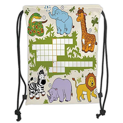 Gym Bag Printed Drawstring Sack Backpacks Bags,Word Search Puzzle,Colorful Crossword Game for Children Wild Jungle Safari Animals Grid Decorative,rin