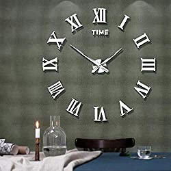 Mintime Frameless DIY Wall Clock 3D Acrylic Sticker Roman Numbers Adhesive Modern Art Wall Clock Parts Kit Home Decorations for Living Room Bedroom (2-Year Warranty) (Silver-017)