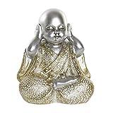 Figura Decorativa de Buda, Fabricada en Resina, con Plata y Dorado. Diseño Budista, con Estilo Zen, 10x6,5x12cm - Hogar y Más - B