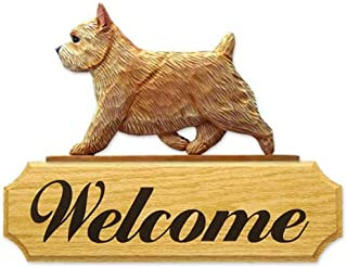 Michael Park Grizzle Norwich Terrier Dog in Gait Welcome Sign