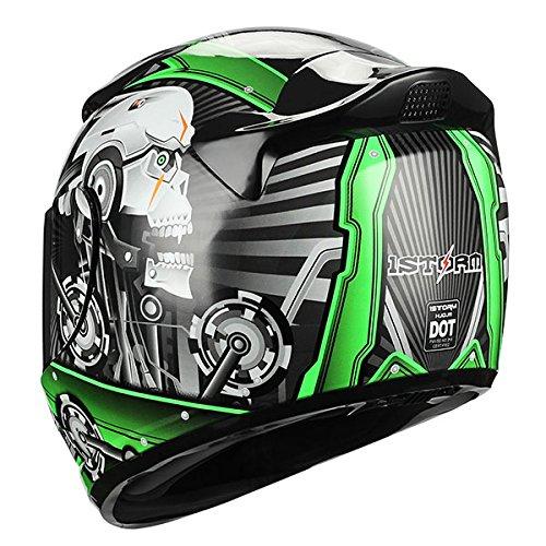 1STORM MOTORCYCLE BIKE FULL FACE HELMET MECHANIC SKULL Tinted Visor GREEN