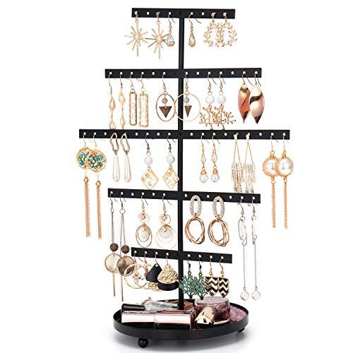Support de boucles d'oreilles avec plateau - 5 couches - Support pour boucles d'oreilles - Présentoir à bijoux avec plateau pour montres, bagues, rouge à lèvres - Noir