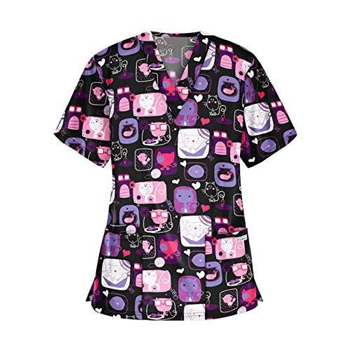 Fankle Women Cute Scrub_Top Working Uniform Short Sleeve V-Neck Tops Workwear T-Shirt Christmas Thanksgiving Printed Blouse (Purple,XXXL)