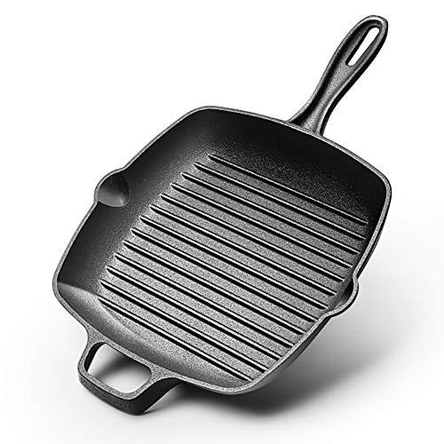 Z·Bling Poêle en Fonte Noir 26cm diamètre x4.5cm Profond - Cast Iron Pan/Frying Pan/Skillet Healthy Carré (10,25inches) Height Plain Grill Pan - Healthy and Durable Cooking Pan Home |