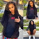 30 Inch Deep Wave Lace Front Wigs Human Hair - Curly Human Hair Wigs for Black Women Natural Hair Wigs Lace Wigs Human Hair Pre Plucked Transparent Lace Frontal Wigs Brazilian Virgin Hair