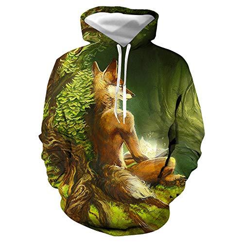 jiuyaomai Sweatshirt Maglione Casual da Uomo E Donna con Cappuccio con Stampa di Cane Lupo Cartone Animato 3D Animali 3 3XL