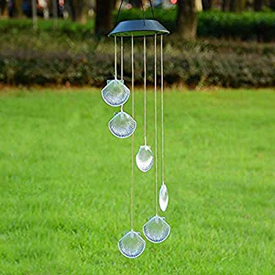 Mosteck Wind Chimes Outdoor Solar Seashell Wind Chimes Color Changing LED Mobile Wind Chime Make a Great Birthday Gifts for Mom, Hanging Decorative Romantic Patio Lights for Yard Garden Home Party