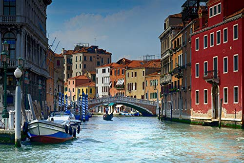 Wall Art Print on Canvas(32x21 inches)- Italy Venice Water Gondola Architecture Venezia
