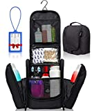 Premium Hanging Toiletry Travel Bag – Large Waterproof Bathroom Bag Holds Toiletries, Makeup, Bottles, Travel Accessories – Portable Organizer for Men & Women + Free Luggage Tag by SHIK Bags, Black