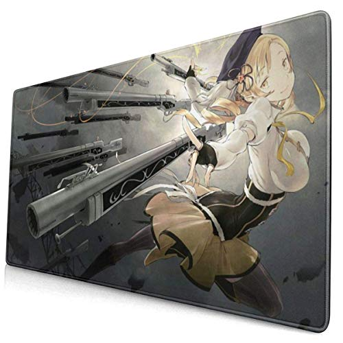 Anime Mahou Shoujo Madoka Magica Tomoe Mami 15.8x29.5 in Large Gaming Mouse Pad Desk Mat Long Non-Slip Rubber Stitched Edges