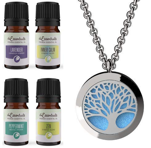 Wild Essentials Tree of Life Essential Oil Necklace Personal Diffuser Gift Set with Aromatherapy Pendant, 24' Stainless Steel Chain, 12 Pads, 100% Pure Oils (Lavender, Peppermint, Inner Calm, Zen) USA