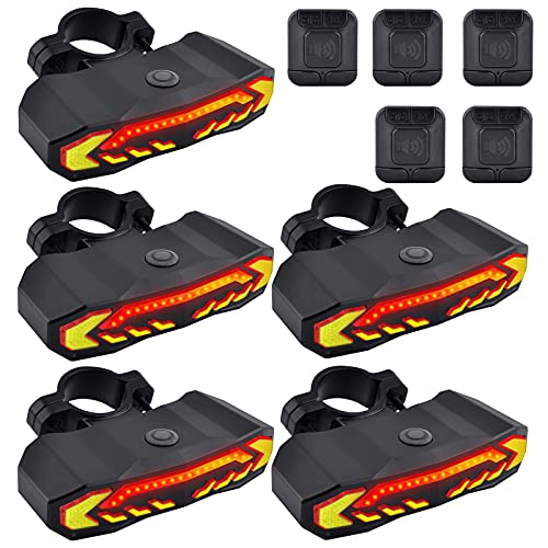 USPUERINK Smart Bike Tail Light with Turn Signals and Automatic Brake Light Wireless Remote Control Bike Rear Light Back USB Rechargeable Safety Warning Cycling Light with Anti-Theft Function, 5 Pack