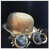 LHZUS Sombreros para mujer, hombre, steampunk, sombrero de bolos, para cosplay, parte superior, sombrero de fedora, gafas de engranaje, tamaño 58 cm (color: oro Qhou, tamaño: 58 cm)